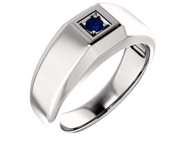 Men`s Genuine September 3mm Round 0.15 tcw. Sapphire Gemstone Ring - Size 10