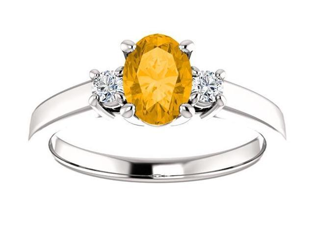Genuine November 7mm x 5mm Oval 0.65 tcw. Citrine Gemstone Ring - Size 8