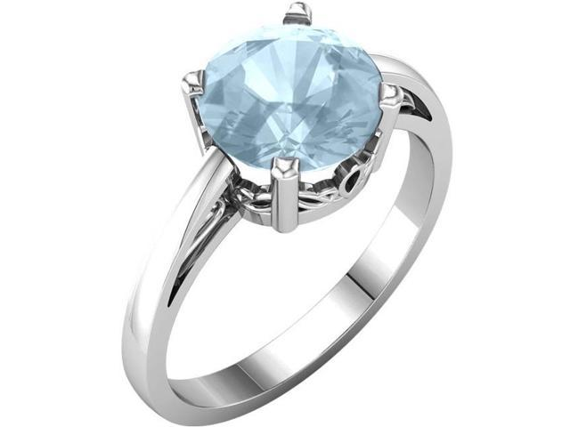 Created March 8mm Round 2.20 tcw. Aquamarine Gemstone Ring - Size 5.5