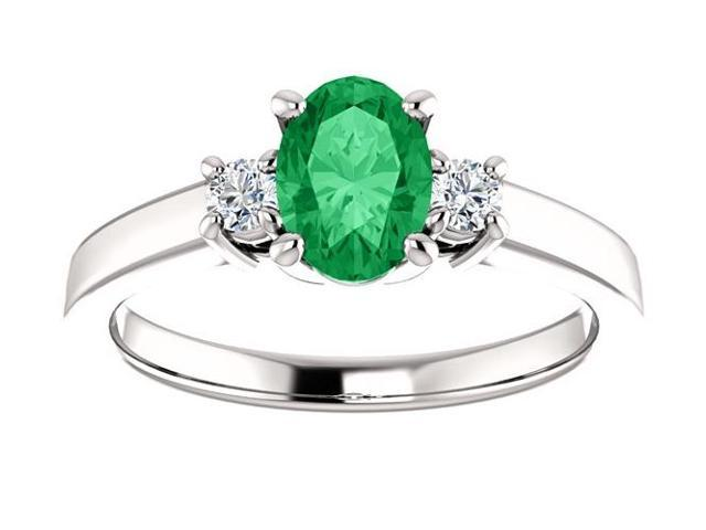 Created May 7mm x 5mm Oval 0.45 tcw. Emerald Gemstone Ring - Size 5