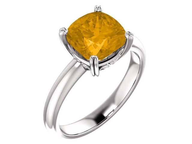 Genuine November 8mm Antique Square 2.00 tcw. Citrine Gemstone Ring - Size 8