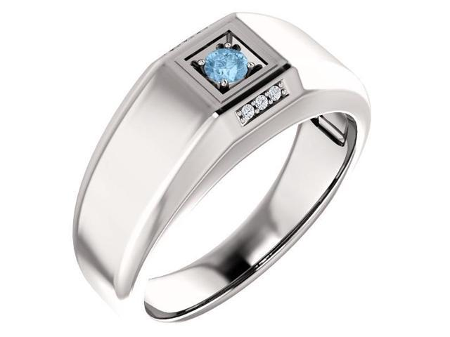 Men`s Genuine December 3mm Round 0.15 tcw. Blue Topaz Gemstone & Diamond Ring - Size 8