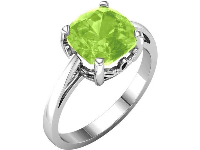 Genuine August 7mm Antique Square 1.90 tcw. Peridot Gemstone Ring - Size 7.5