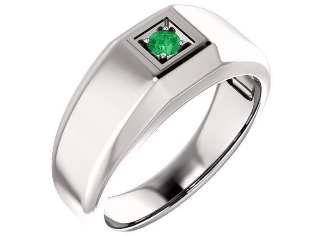 Men`s Genuine May 3mm Round 0.13 tcw. Emerald Gemstone Ring - Size 11.5