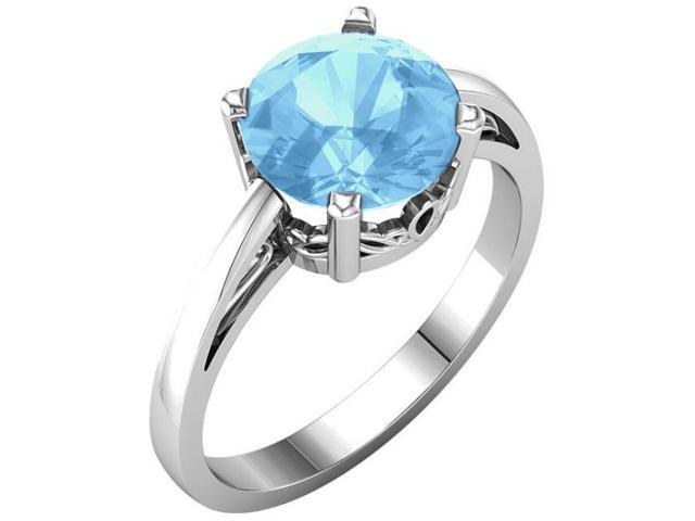 Genuine December 8mm Round 2.20 tcw. Blue Topaz Gemstone Ring - Size 6