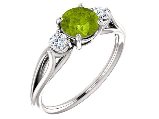 Genuine 6mm 0.80 tcw. Peridot 3-Stone Gemstone Twist Style Ring