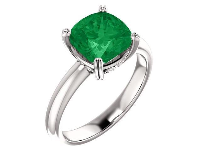 Created May 8mm Antique Square 1.90 tcw. Emerald Gemstone Ring - Size 7