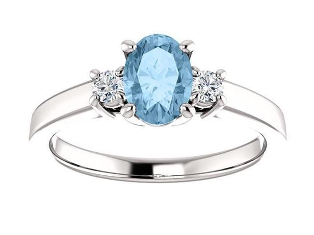Genuine December 7mm x 5mm Oval 0.65 tcw. Blue Topaz Gemstone Ring - Size 8