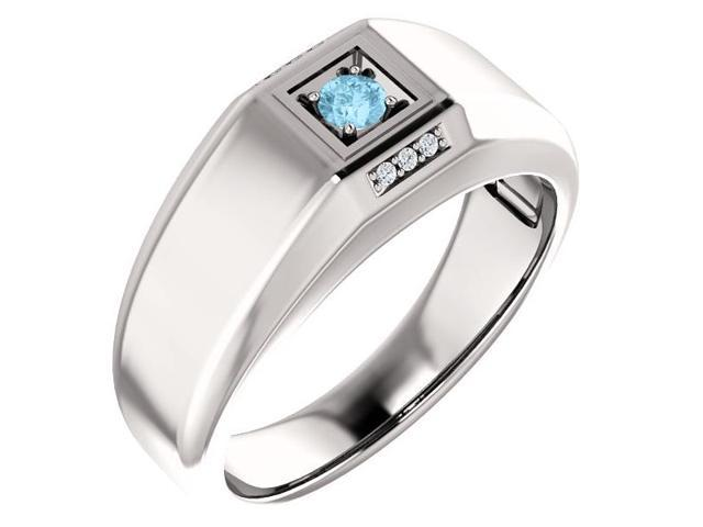 Men`s Genuine March 3mm Round 0.09 tcw. Aquamarine Gemstone & Diamond Ring - Size 9