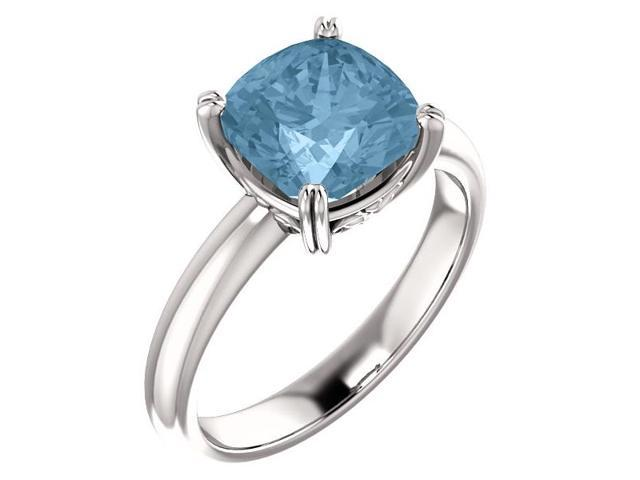 Genuine December 8mm Antique Square 2.15 tcw. Blue Topaz Gemstone Ring - Size 8