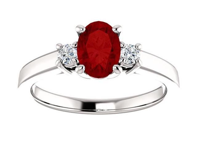 Created July 7mm x 5mm Oval 0.75 tcw. Ruby Gemstone Ring - Size 5