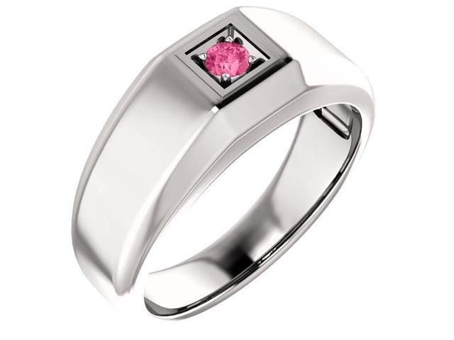Men`s Created October 3mm Round 0.10 tcw. Pink Sapphire Gemstone Ring - Size 9