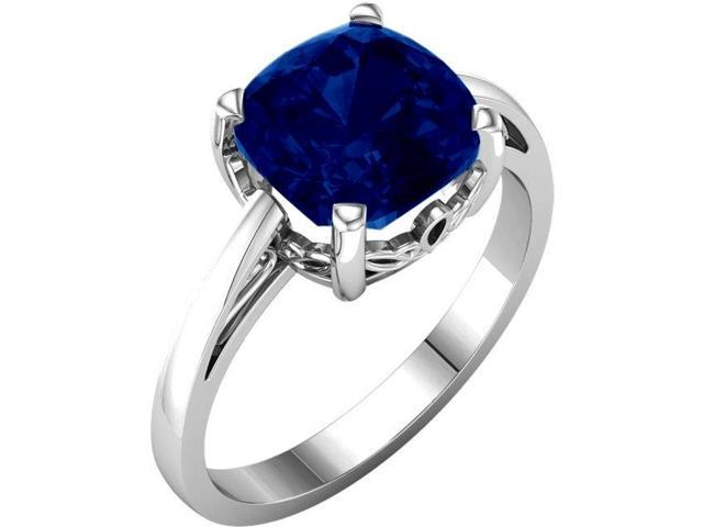 Created September 7mm Antique Square 2.15 tcw. Sapphire Gemstone Ring - Size 8