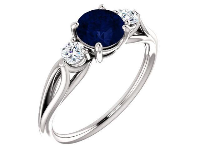 Created 6mm 1.00 tcw. Sapphire 3-Stone Gemstone Twist Style Ring