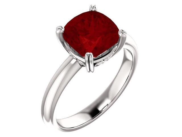 Created July 8mm Antique Square 2.50 tcw. Ruby Gemstone Ring - Size 7