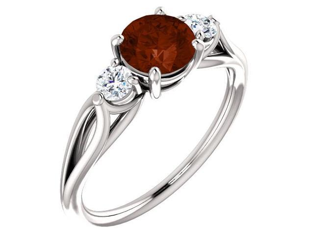 Genuine 6mm 0.85 tcw. Garnet 3-Stone Gemstone Twist Style Ring