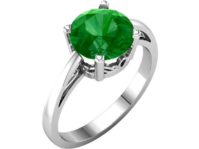 Created May 8mm Round 2.00 tcw. Emerald Gemstone Ring - Size 7
