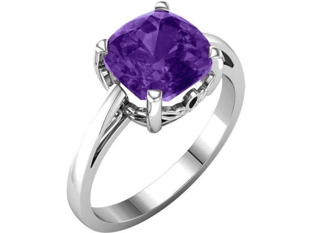 Genuine February 7mm Antique Square 1.50 tcw. Amethyst Gemstone Ring - Size 6.5