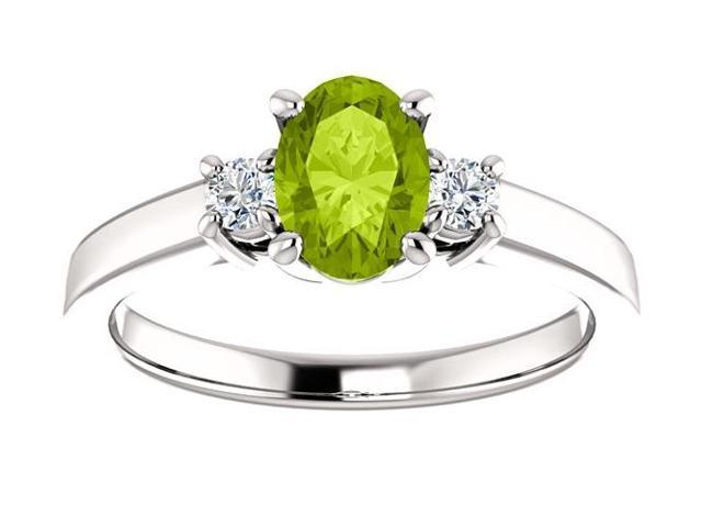 Genuine August 7mm x 5mm Oval 0.70 tcw. Peridot Gemstone Ring - Size 6