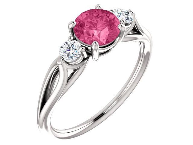 Created 6mm 1.50 tcw. Pink Tourmaline 3-Stone Gemstone Twist Style Ring