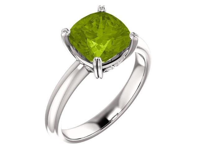 Genuine August 8mm Antique Square 2.20 tcw. Peridot Gemstone Ring - Size 8
