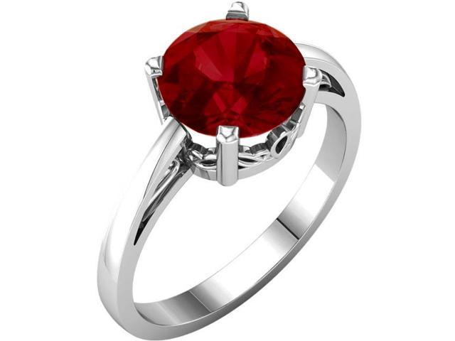 Created July 8mm Round 2.50 tcw. Ruby Gemstone Ring - Size 7