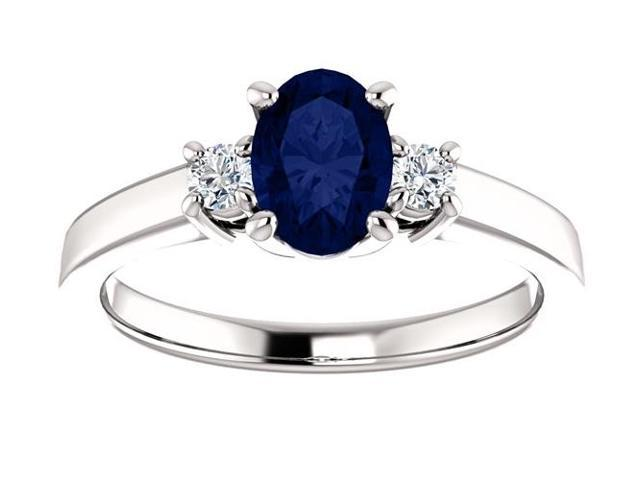 Created September 7mm x 5mm Oval 0.65 tcw. Sapphire Gemstone Ring - Size 7.5