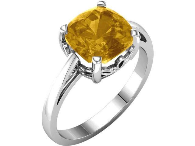 Genuine November 7mm Antique Square 1.75 tcw. Citrine Gemstone Ring - Size 7