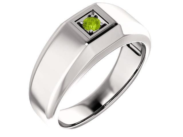 Men`s Genuine August 3mm Round 0.11 tcw. Peridot Gemstone Ring - Size 8