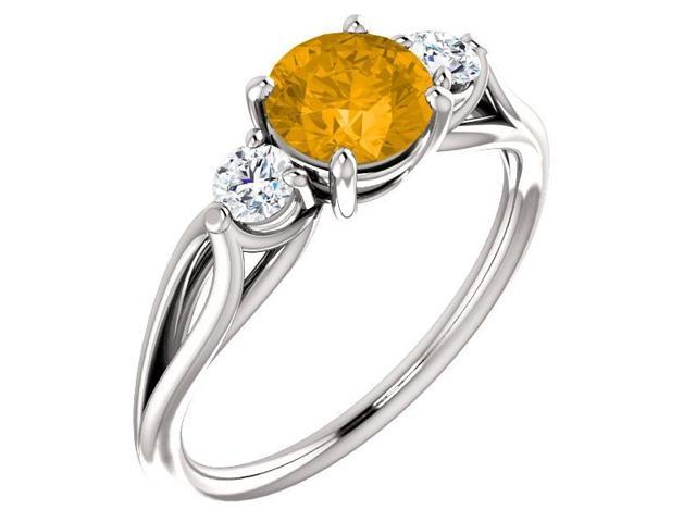 Genuine 6mm 0.85 tcw. Citrine 3-Stone Gemstone Twist Style Ring