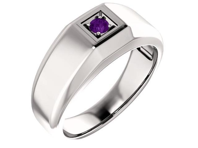Men`s Genuine February 3mm Round 0.10 tcw. Amethyst Gemstone Ring - Size 8