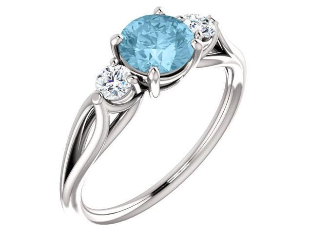 Created 6mm 0.90 tcw. Aqua 3-Stone Gemstone Twist Style Ring