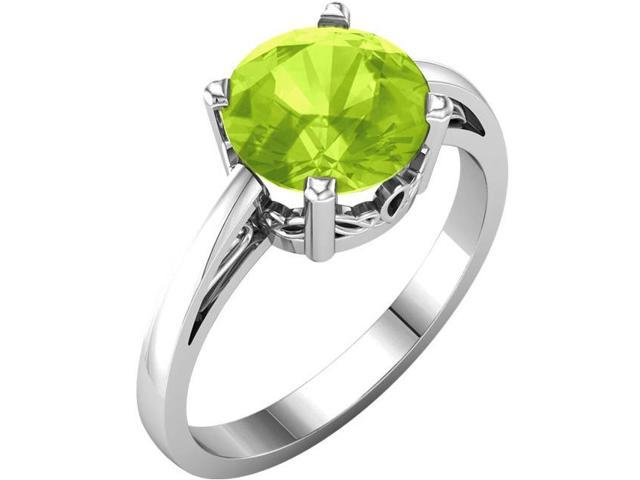 Genuine August 8mm Round 2.20 tcw. Peridot Gemstone Ring - Size 8