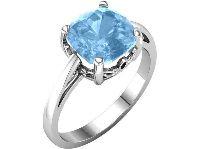 Genuine December 7mm Antique Square 1.85 tcw. Blue Topaz Gemstone Ring - Size 8