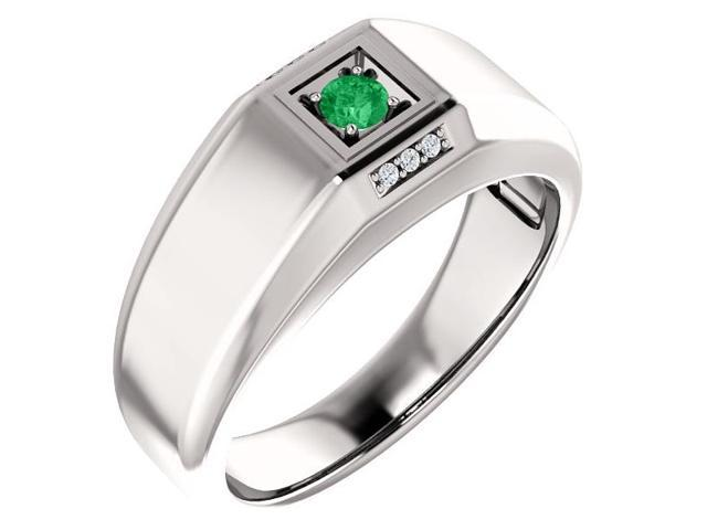 Men`s Genuine May 3mm Round 0.13 tcw. Emerald Gemstone & Diamond Ring - Size 12.5