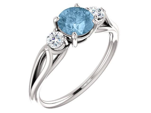 Genuine 6mm 0.95 tcw. Blue Topaz 3-Stone Gemstone Twist Style Ring