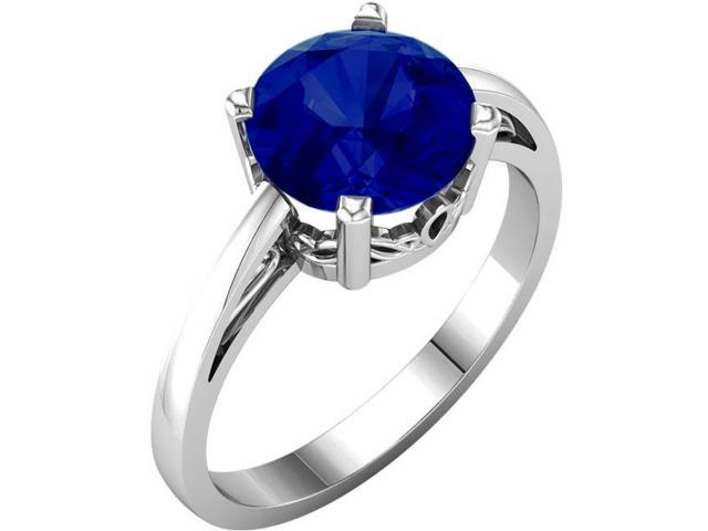 Created September 8mm Round 2.40 tcw. Sapphire Gemstone Ring - Size 5