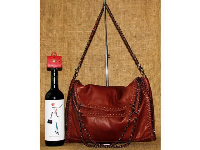 Made in Italy! Genuine Leather Handbag! Double hand strap and detachable long strap – can be worn with all 3.