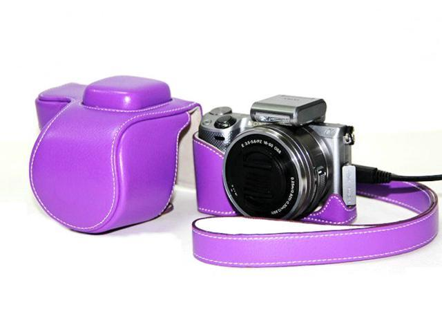 Westlinke Compact Digital Camera Case for Sony NEX-5T NEX5T 5T PU Leather Camera Bag Cover Fit for 16-50mm Lens-Purple