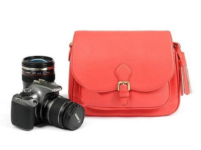 Westlinke Vintage PU Leather Korea Style Camera Shoulder Sling Bags for DSLR Cameras Cases Red