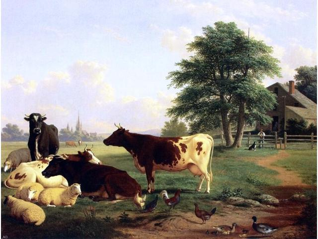 Hinckley (MN) United States  city photo : Thomas Hewes Hinckley Landscape,: Cattle, Woman, Boy and Newfoundland ...