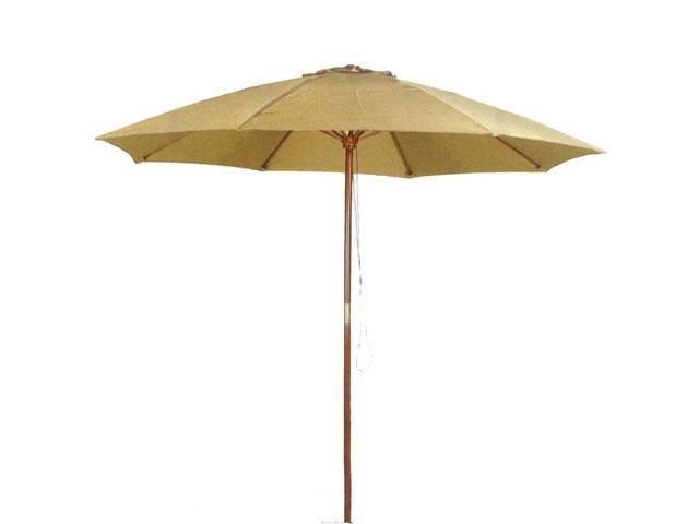 9 ft Taupe Patio Umbrella - Outdoor Wooden Market Umbrella