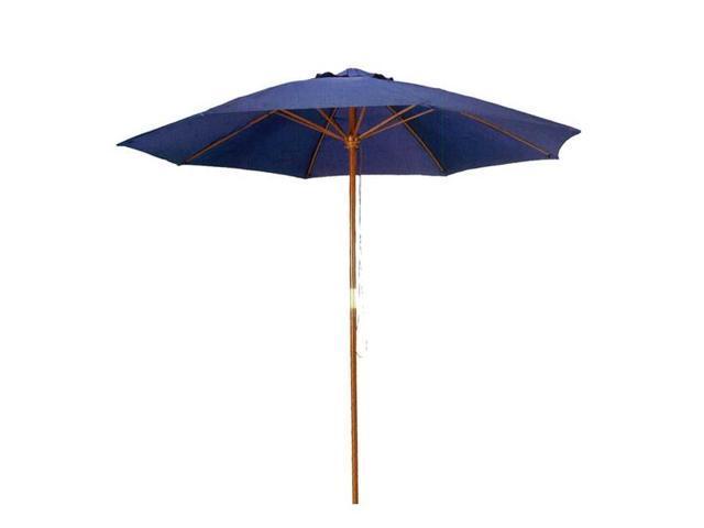 9 ft Navy Blue Patio Umbrella - Outdoor Wood Market Umbrella