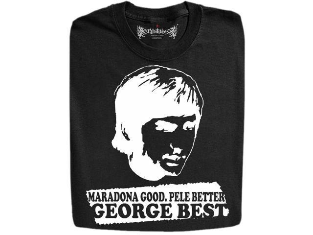 "Stabilitees Printed ""Maradona Good, Pele Better, George BEST"" Mens T Shirts"