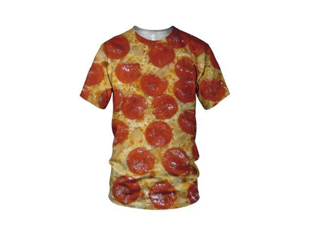 All Over 3D Print Pizza Lover Fashion Ladies T Shirt, White, L