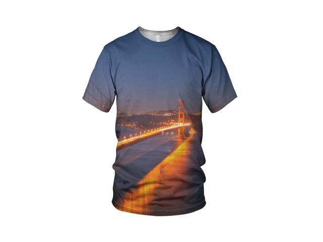 All Over 3D Print San Francisco Golden Gate Fashion Ladies T Shirt, White, L