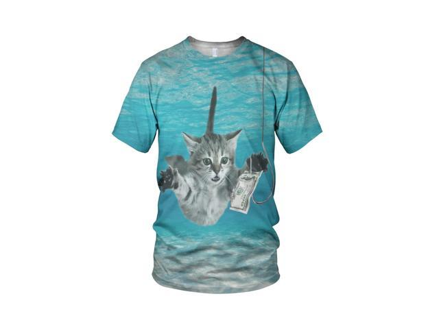 All Over 3D Print Nevermind The Cat Fashion Men's T Shirt, White, L