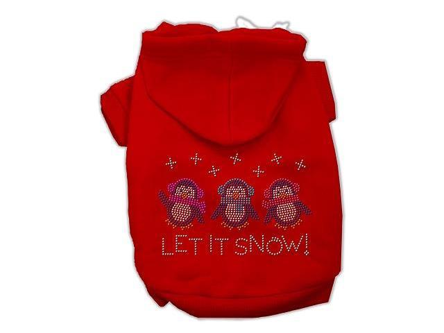 Let it Snow Penguins Rhinestone Dog Hoodie Red/Medium