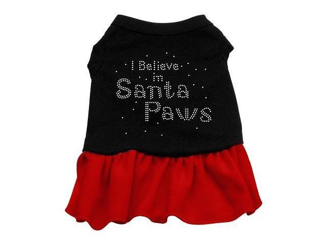 Santa Paws Rhinestone Dog Dress - Black with Red/Large