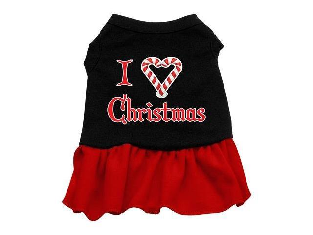 I Love Christmas Dog Dress - Black with Red/XX Large
